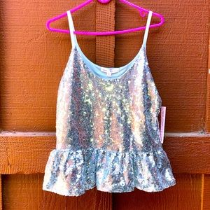 Y2K princess silver glitter cami top. Size large